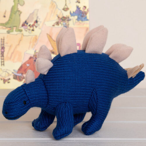 Best Years Small Blue Stegosaurus Knitted Rattle
