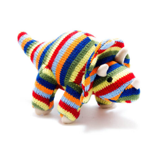 Best Years Small Stripe Triceratops Knitted Rattle