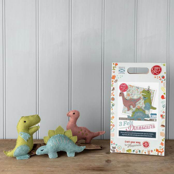 Three Felt Dinos Sewing Kit
