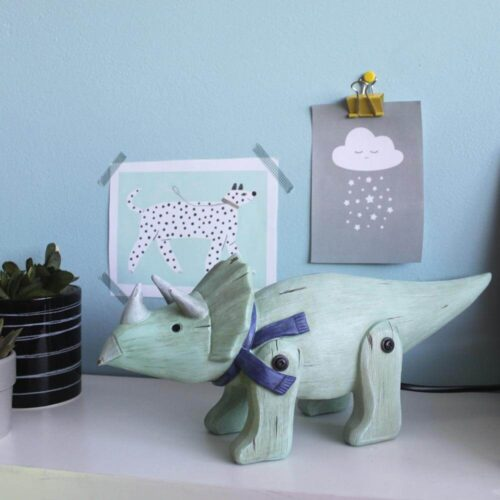 Wood Effect Cute Triceratops Light