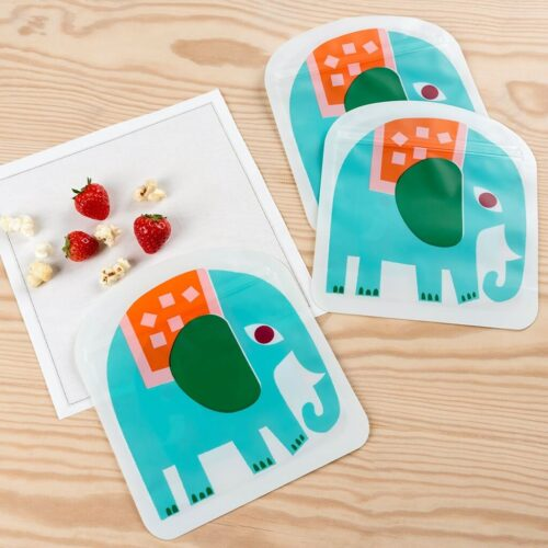 Set of 3 Elephant Snack Bags