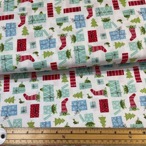 Star Wars Mandolorian: The Child Christmas Surprise Cotton Fabric - £10 per metre