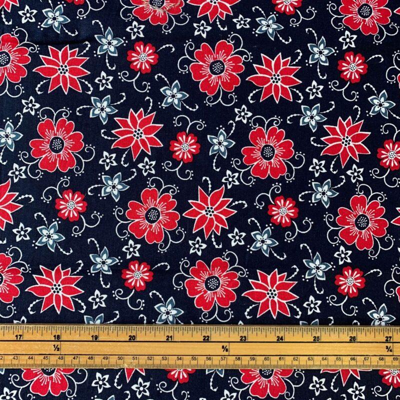 Scandi Christmas Flowers Cotton Fabric - £8 per metre