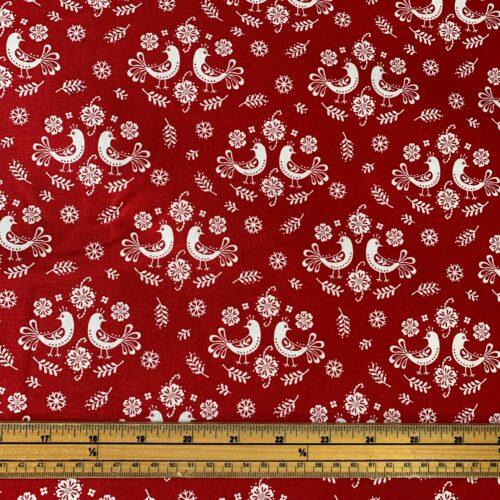 Scandi Folk Art Doves Cotton Fabric - £8 per metre