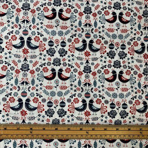 Scandi Folk Art Cotton Fabric - £8 per metre
