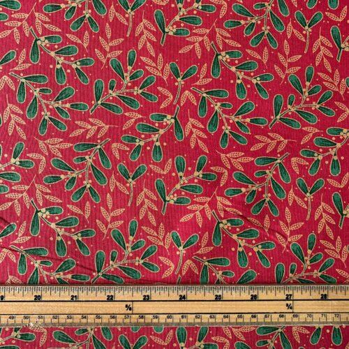 Mistletoe Red Cotton Fabric - £8 per metre