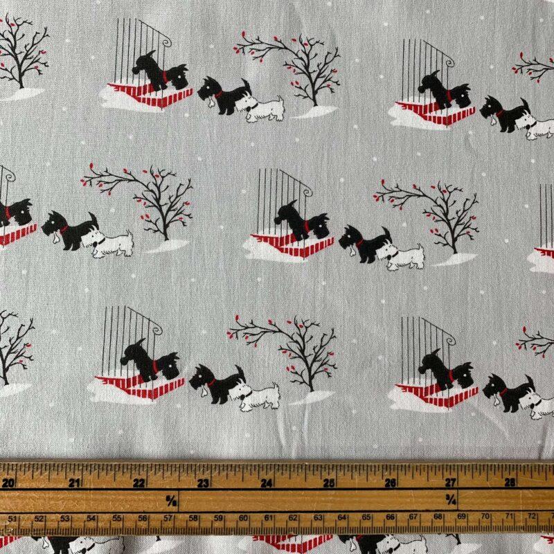 V & A: A Christmas Wish Scotty Friends Cotton Fabric - £10 per metre