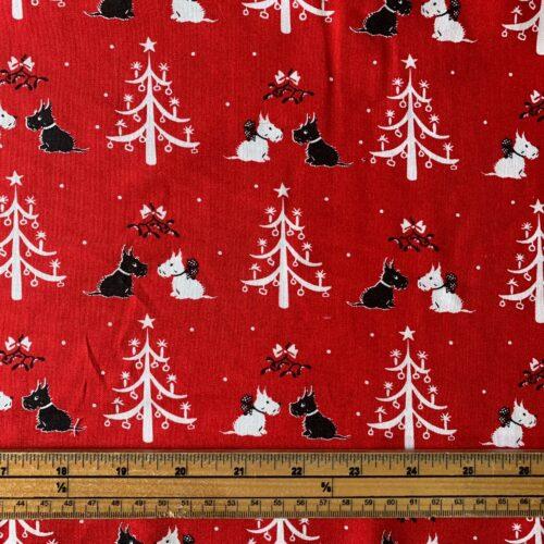 V & A: A Christmas Wish Mistletoe and Trees Cotton Fabric - £10 per metre