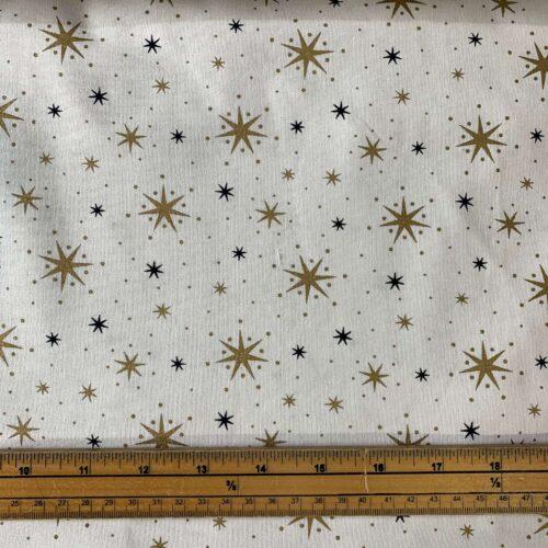 Metallic Christmas Stars Cotton Fabric - £8 per metre