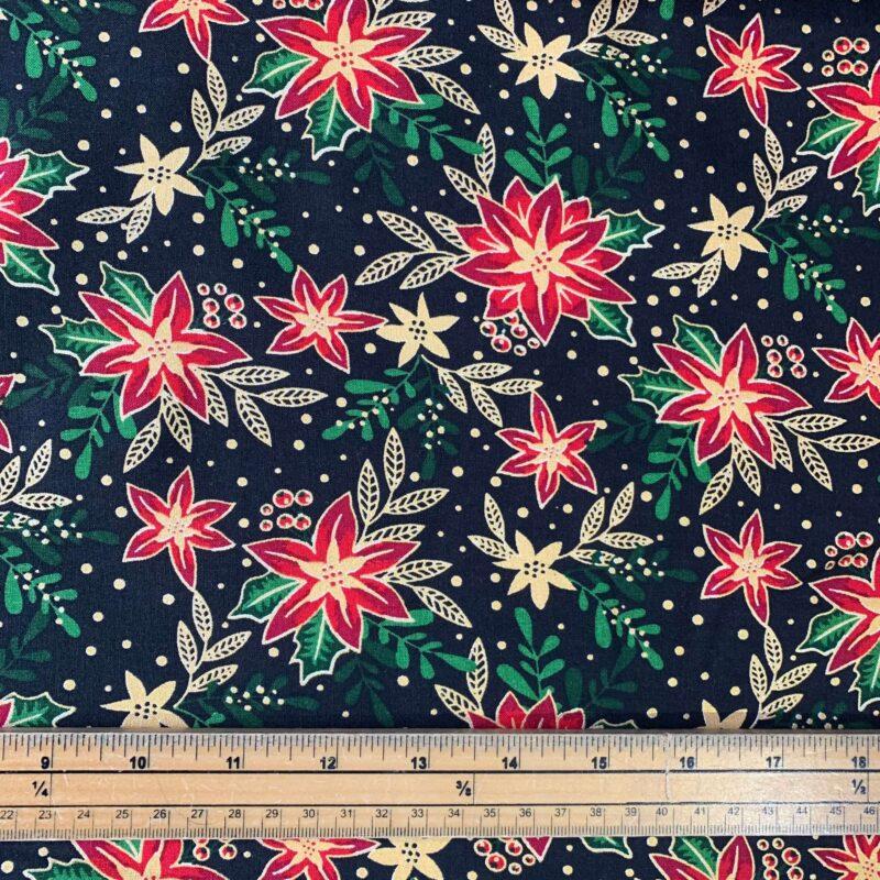 Poinsettia Black Cotton Fabric - £8 per metre