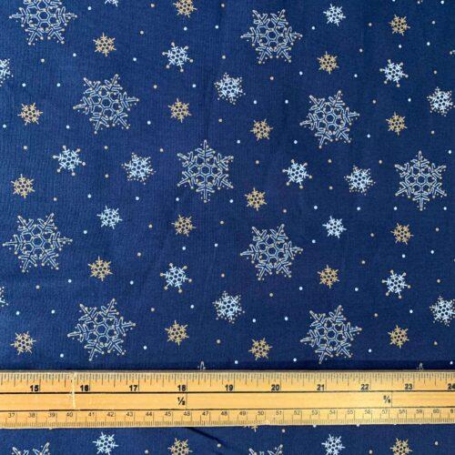 Metallic Christmas Snowflakes Cotton Fabric - £8 per metre