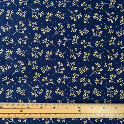 Metallic Mistletoe and Sprig Cotton Fabric - £8 per metre