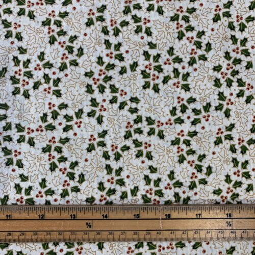 Traditional Holly Green Cotton Fabric - £8 per metre