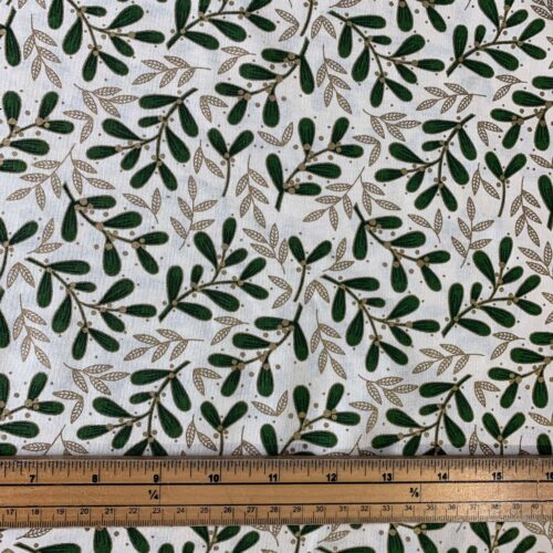 Mistletoe Cream Cotton Fabric - £8 per metre